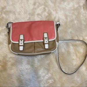 Coach color block pink and brown cross body